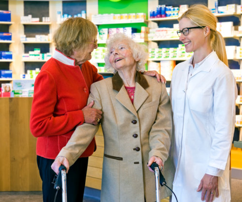 two seniors with pharmacist